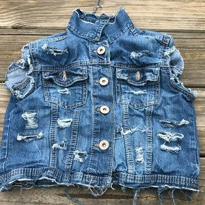 Mudd Kids Girl Vest Blue Denim Sleeve Less Jacket